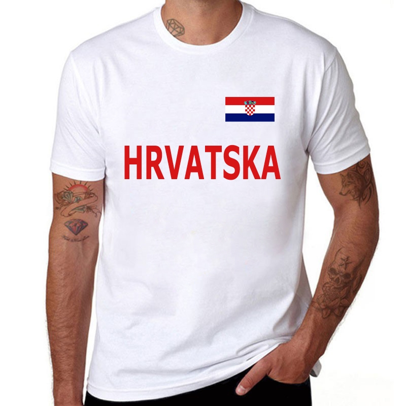2019 Men T Shirt Croatia National Fans Cheer Short Sleeve T-Shirt Male Cotton Solid Casual Round Neck T-Shirts
