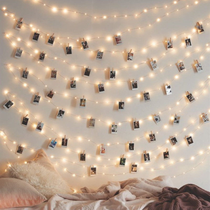 Decorations Garland Photo Box Operated Baby Christmas Home Battery Shower Outdoor Wedding Clip Light Lights Fairy Party Strip