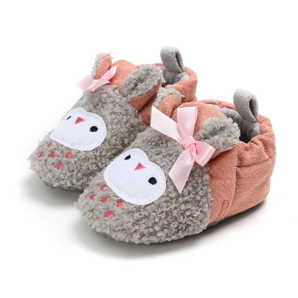 Cute Baby Girls Boys Non-Slip Shoes Snow Winter Booties Animal Soft Sole Toddler Crib Shoes Todler Infant Casual First Walkers