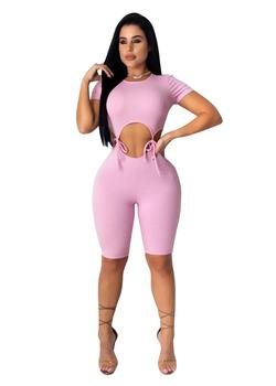 Sexy Hollow Out Bandage Knit Rib Playsuit Jumpsuit Women Bodycon Casual Fitness Lace Up Biker Shorts Rompers Womens Jumpsuit grey bodycon shorts with hollow design