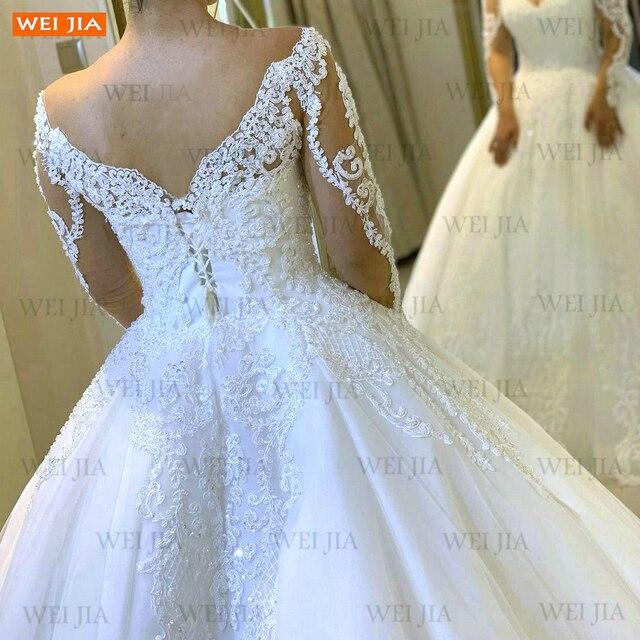 Luxury White Wedding Gowns 2021 Long Sleeves Lace Up Vestido De Noiva Appliqued Organza Ball Gown Bride Dresses Abito Da Sposa 4