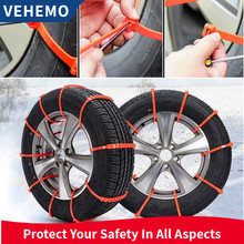 Thickened Snow Chain Orange 1 Pc Roadway Safety Vehicles Tyre Anti-Skid Chains Durable Buckle Snow Tire Belt(China)