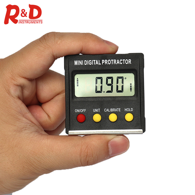 R&D 360 Degree Mini Magnetic Digital Inclinometer Level Box Gauge Angle Meter Finder Protractor Base Measuring Tools