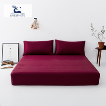 Liv-Esthete Wine Red 100% Mulberry Silk Fitted Sheet Silky Mattress Cover Queen King Bed Sheets Pillowcase For Women Men