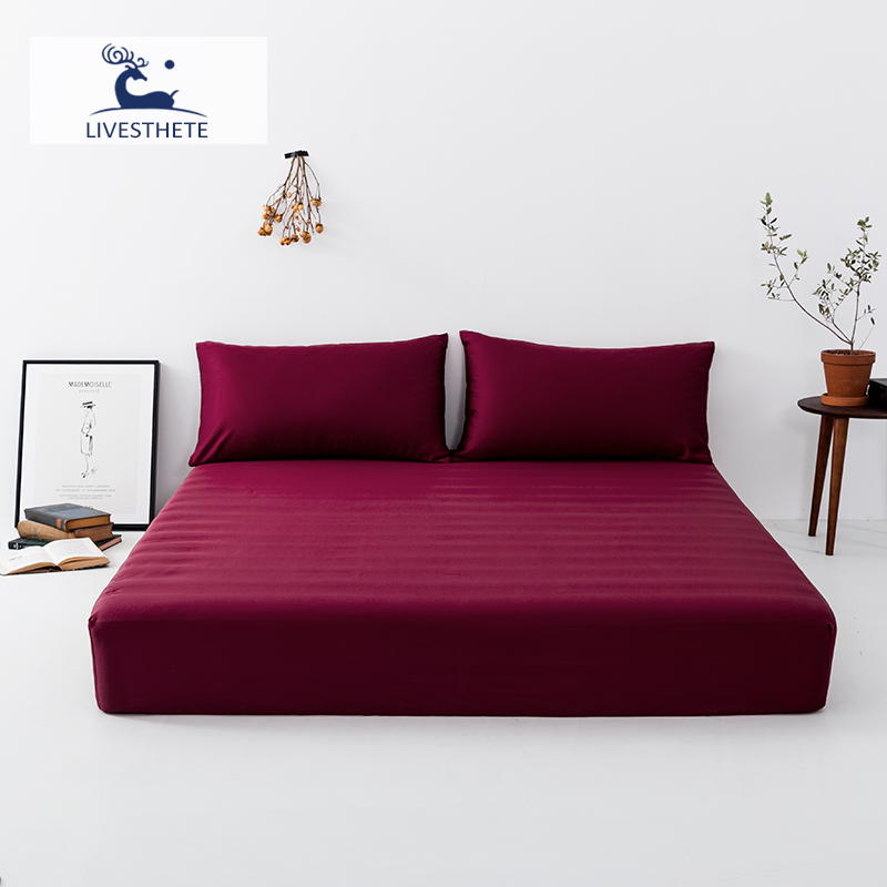Liv-Esthete Wine Red 100% Silk Fitted Sheet Silky Mattress Cover Queen King Bed Sheets On Elastic Band Pillowcase For Women Men
