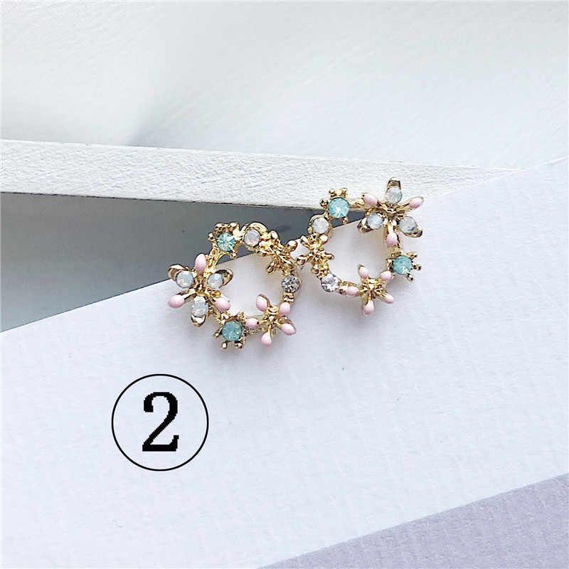2019 mais recente design marca orelha anel cor flor brincos feminino simples brincos para mulher