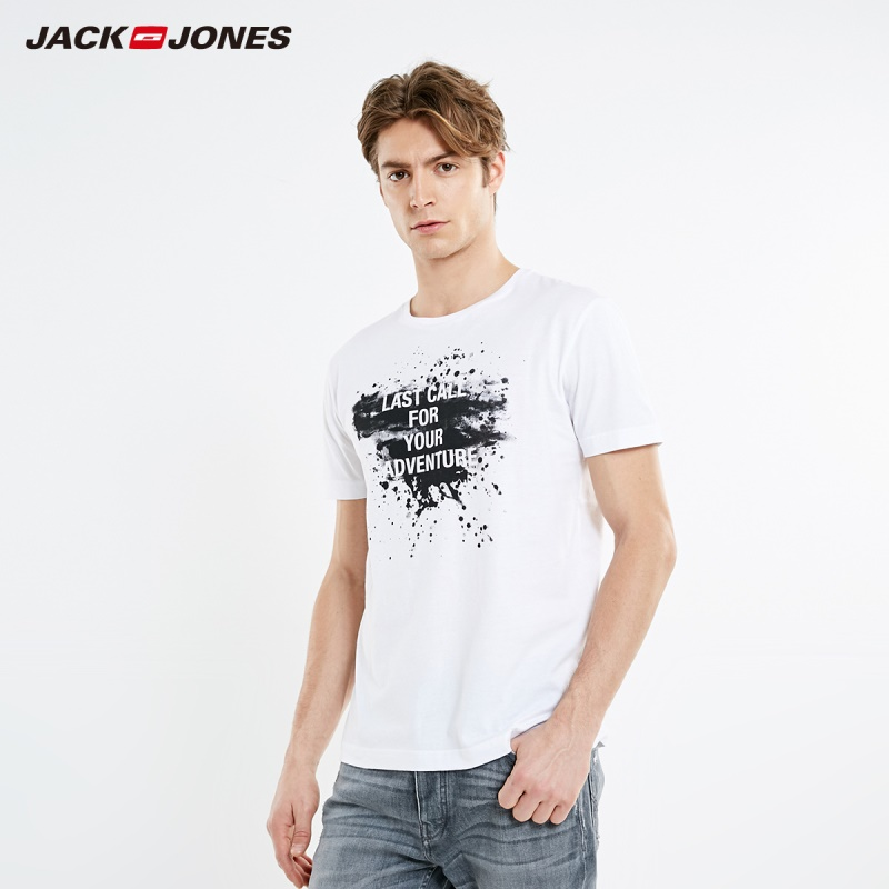 JackJones Men's 100% Cotton Ink Letter Print Straight Fit Round Neckline Short-sleeved T-shirt|Streetwear 219101589