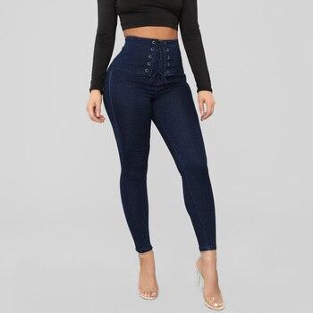 Drawstring Jeans Womens 2020 High Waist Jeans Pencil Pants Denim Long Pants Stretch Trousers Denim Ladies Skinny Jeans femme цена 2017