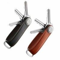 Portallaves de cuero inteligente para llave de coche, organizador de llaves, EDC, bolsillo, Llavero, almacenamiento de llaves