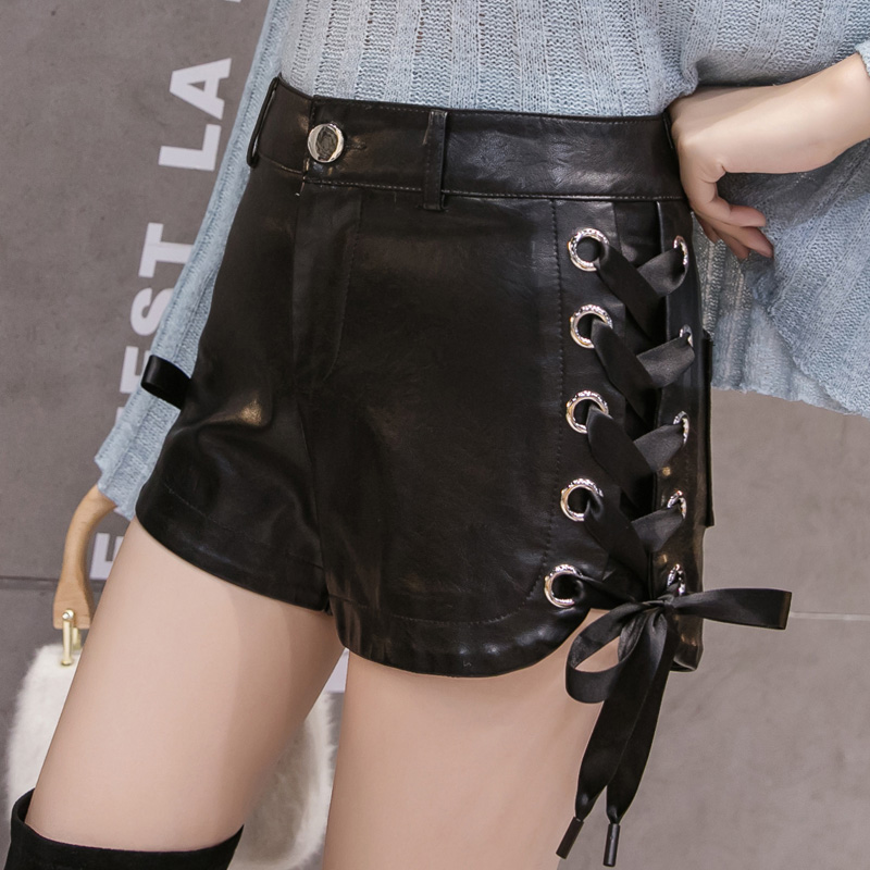 PU Leather Sided Laced-up Shorts Autumn Winter Women Fashion Empire PU Shorts Girls Artificial Leather Slim Shorts Bottoms