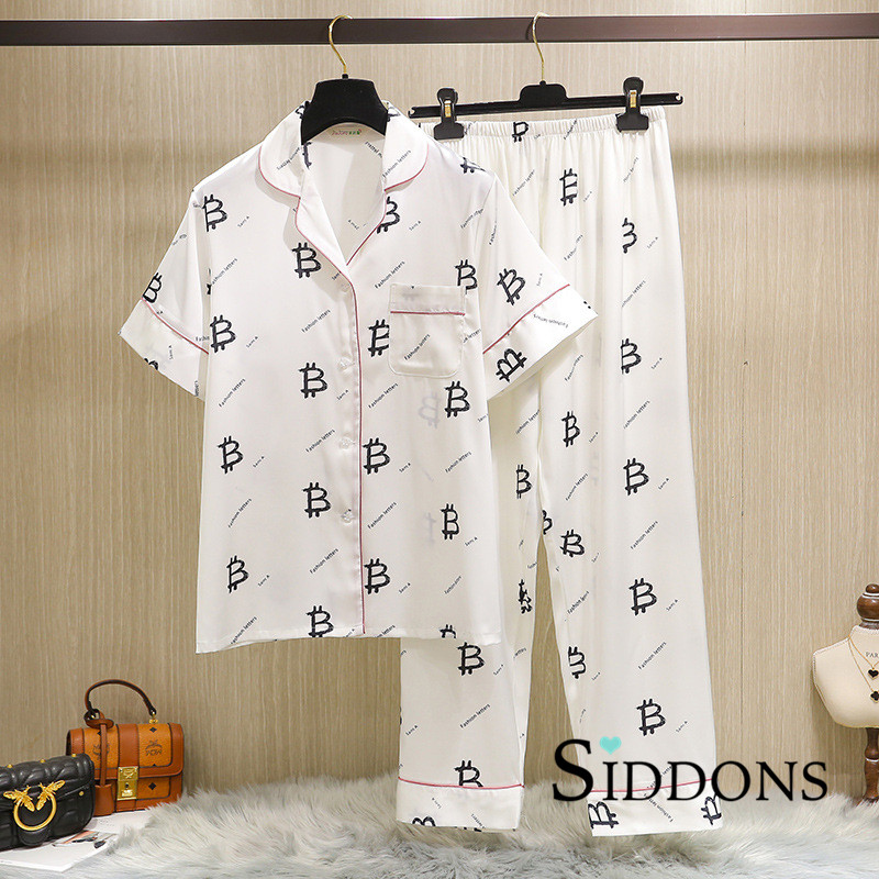 Siddons underwear faux silk letter print sexy women's spring long sleeve & pants pajamas sets cute & lovely nightwear sets HOT|Pajama Sets| - AliExpress