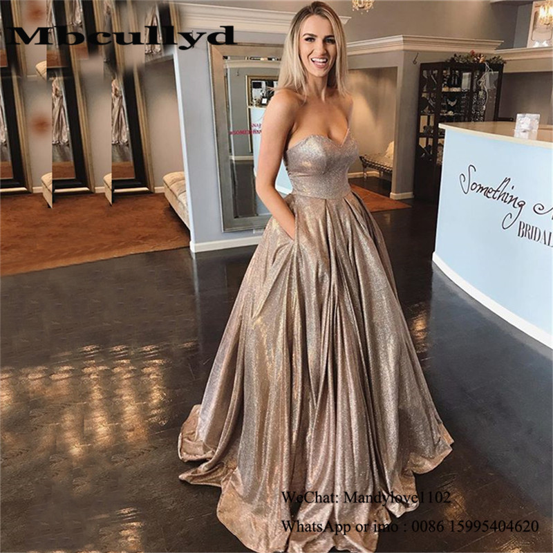 Mbcullyd Sweetheart A-line Prom Dresses Long 2020 Glitter Sequined Formal Evening Dress Party With Pocket Vestidos De Fiesta