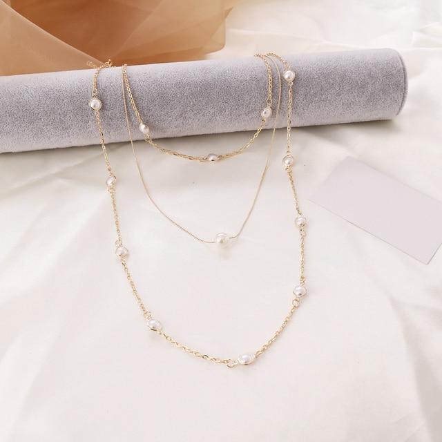 Pearl layered necklace or pearl hoop earrings 4
