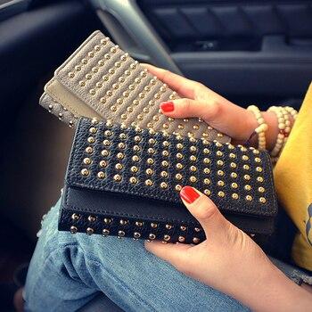 New Wallet Fashion Female Wallet Rivets Teen Girl Women Wallet Phone Pocket Purse Carteira Feminina Wallet Female 1