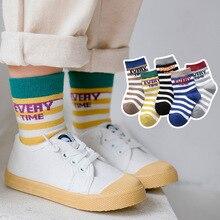 Childrens cotton socks autumn/winter new  tube for children boy girl baby stripe letters