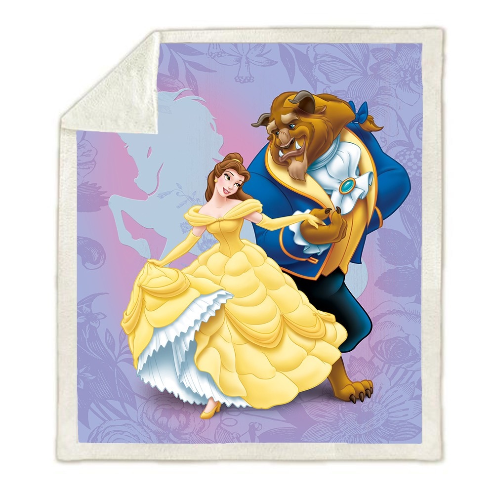 Couvertures princesse Disney la belle et la bête | Couverture en peluche, lancer pour canapé-lit couverture simple, literie jumelle, cadeau pour enfants filles