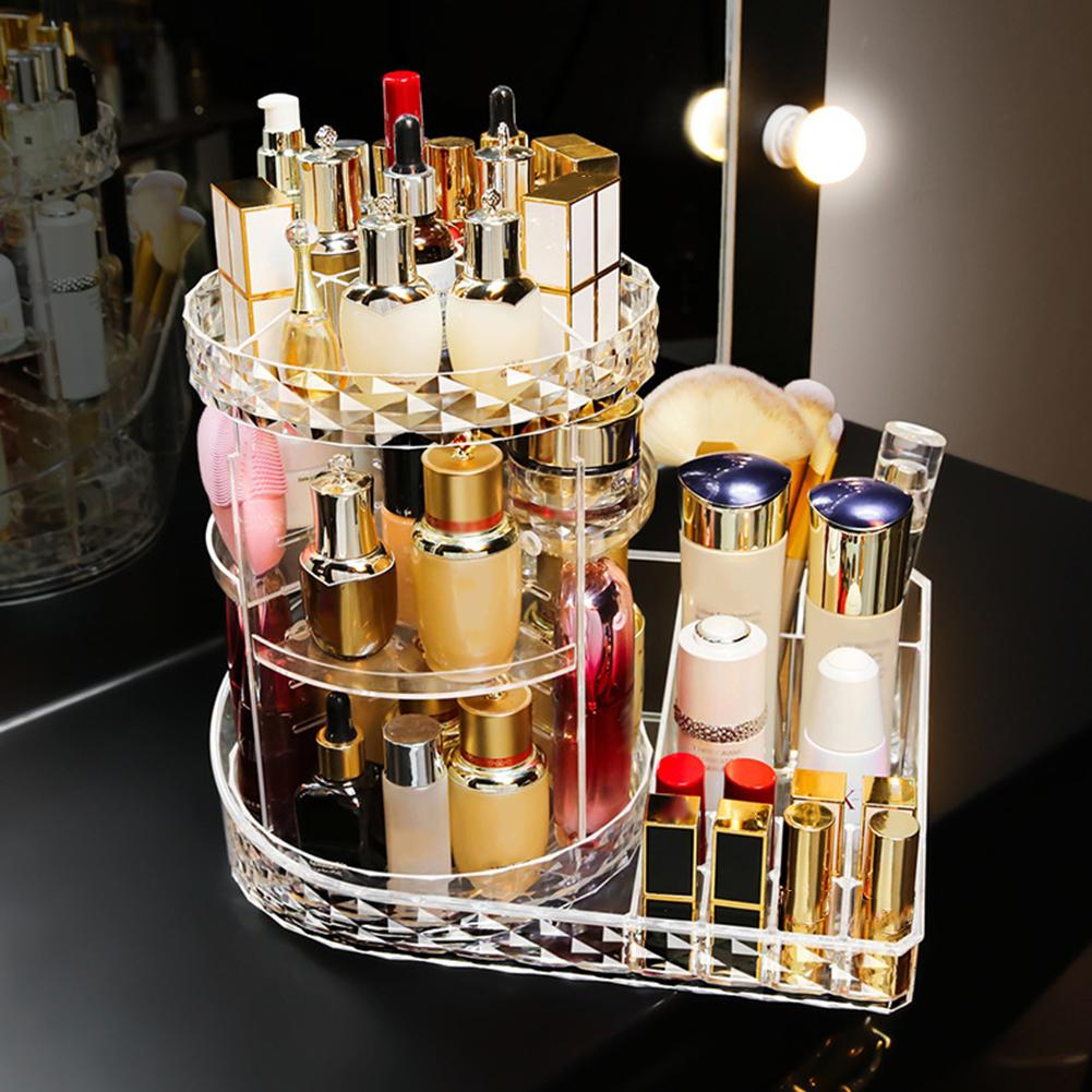 360 Degree Rotating Transparent Acrylic Cosmetic Storage Box Rack Shelf Holder Detachable Clear Girl Makeup Beauty Organizer