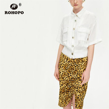 ROHOPO Women Tunic Short Sleeve Cotton Blouse Buttons Fly DIscover Thread Ladies Solid Autumn Top Shirt #9272