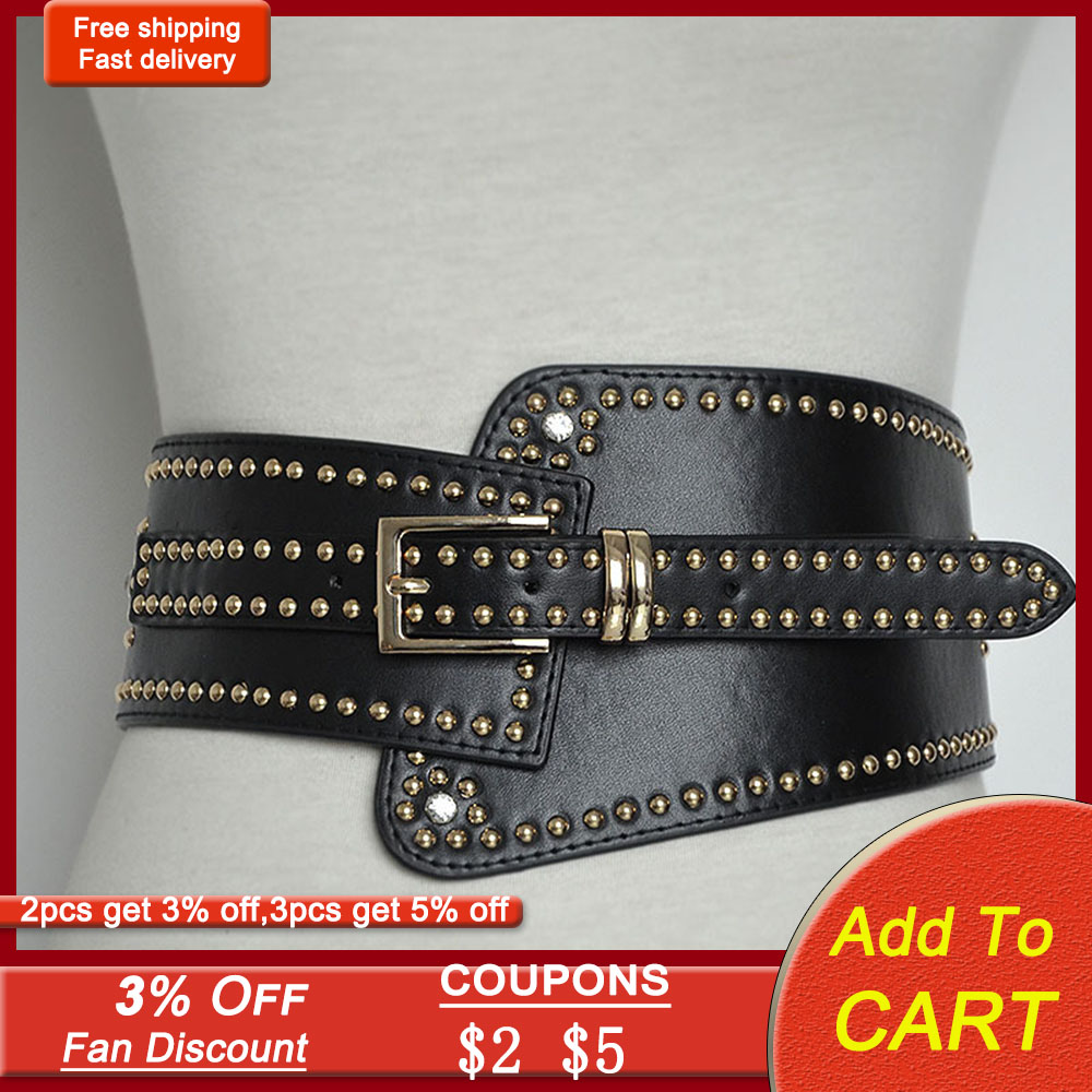 Brand Design Buckle Rivet Wide Waist Bands Cool Girls Gothic Back Punk Fashion Accessories Elastic Women Belts 2020 New 92*12cm