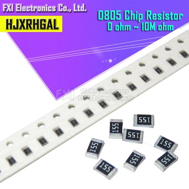 100Pcs 0805 SMD 1/4W 0R ~ 10M chip resistor  0 10R 100R 220R 330R 470R 1K 4.7K 10K 47K 100K 0 10 100 330 470 ohm