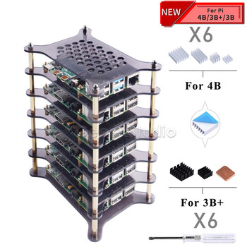 New 6 Layers Transparent Clear / Dark Brown Acrylic Case with Heatsink Set Screwdriver for Raspberry Pi 4 B / 3B+ / 3B / 2B / B+