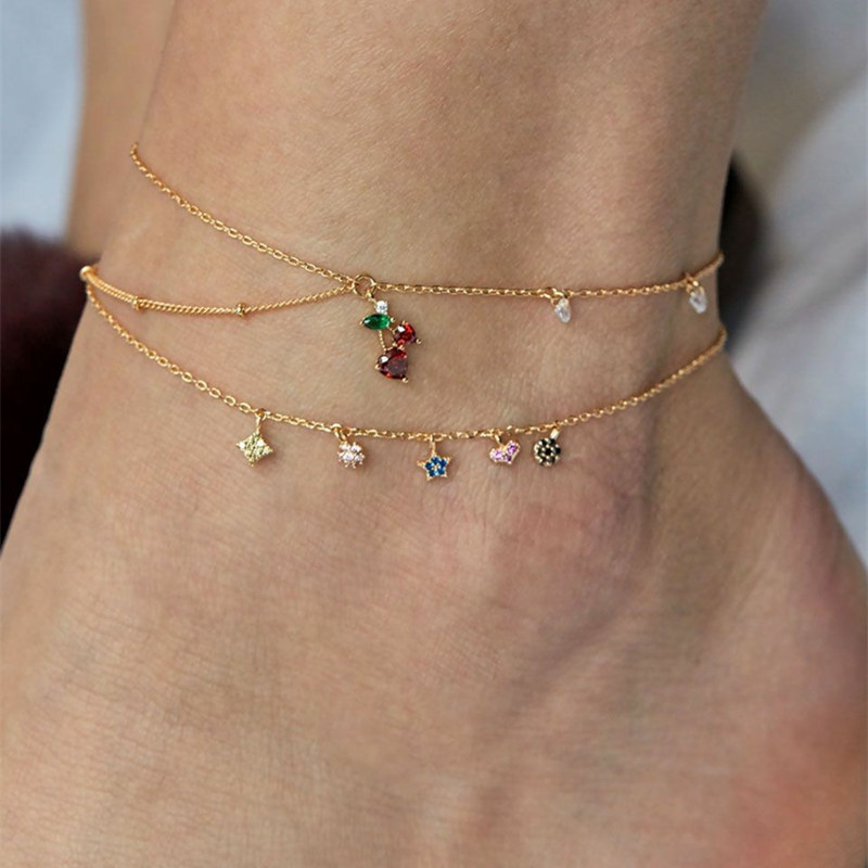 2 Pcs/set Women Cute Tiny Crystal Cherry Blossoms Tassel Star Charm Ankle Bracelets Fashion Gold Chain Anklets for Women Jewelry