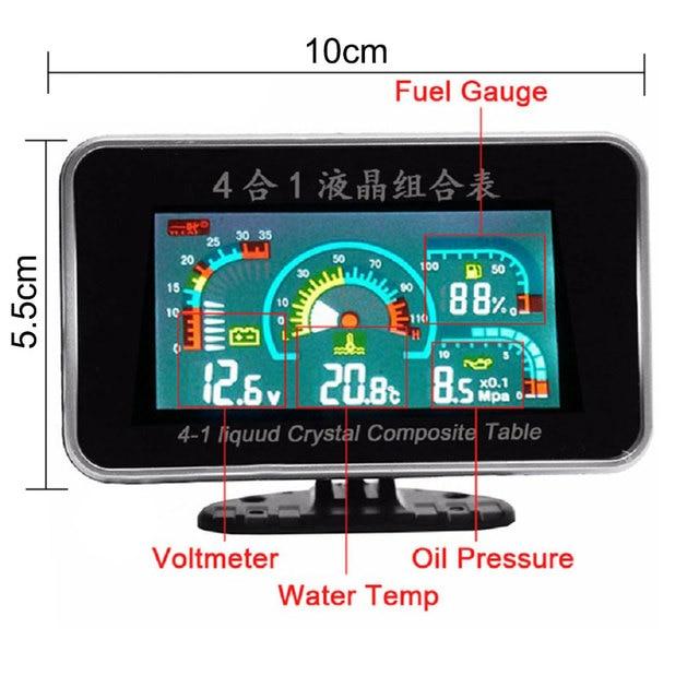 4 In 1 LCD 12v/24v Excavator Truck Car Oil Pressure Voltmeter Volt Water Temperature Fuel Gauge Temperature Sensor Voltmeter Car