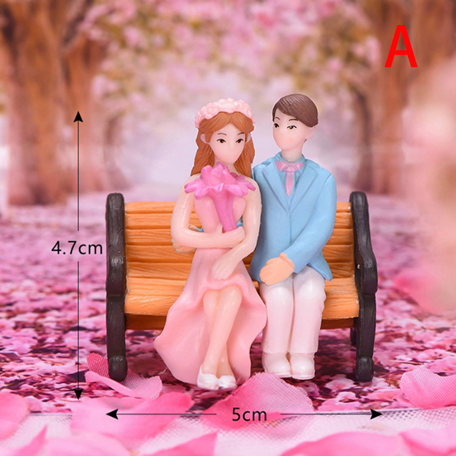 1/2Pieces Sweety Lovers Couple Chair Figurines Miniatures Fairy Garden Gnome Moss Terrariums Resin Crafts Home Decoration 2