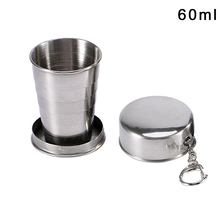 1pcs 60-250ML Stainless steel folding cup stainless retractable blackjack Teacups Teaware