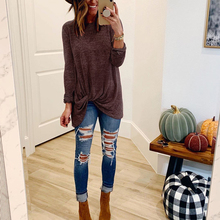 OEAK 2019 New Women Fashion Solid Long Sleeve O-Neck Long T-Shirts Regular Front Knot Casual T-shirt Autumn Pullover Top цена 2017