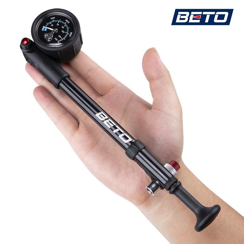 Beto Bike Shock Pump MTB widelec/tylne zawieszenie pompy do rowerów 400 PSI wąż powietrza pompa ręczna z manometrem Bike Inflator