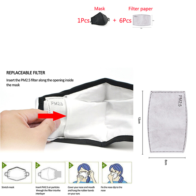 1pcs Mask + 6pcs filter paper PM2.5 mouth Mask anti dust mask filter Windproof Mouth-muffle bacteria proof Flu Face masks Care