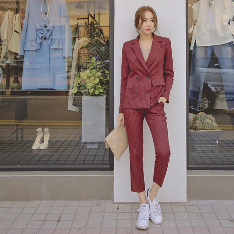 Spring And Summer New Style Korean-style Slim Fit Business Stripes Small Suit Women's Casual Double Breasted Capri Pants Two-Pie