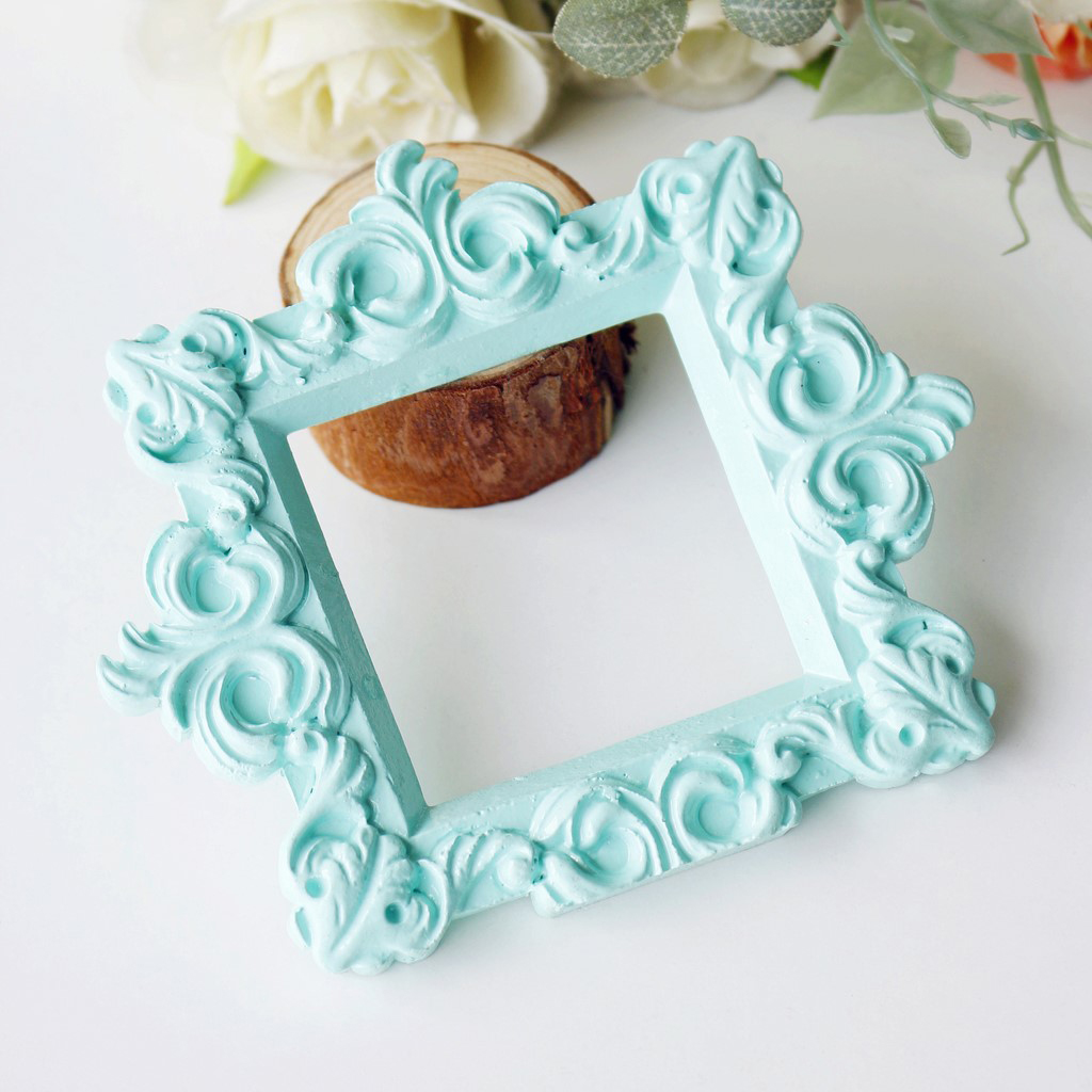Vintage Baroque Picture Photo Frame Wall Decor Wedding Party Favors Housewarming Gifts, Green, 9cm/ 3.5inch