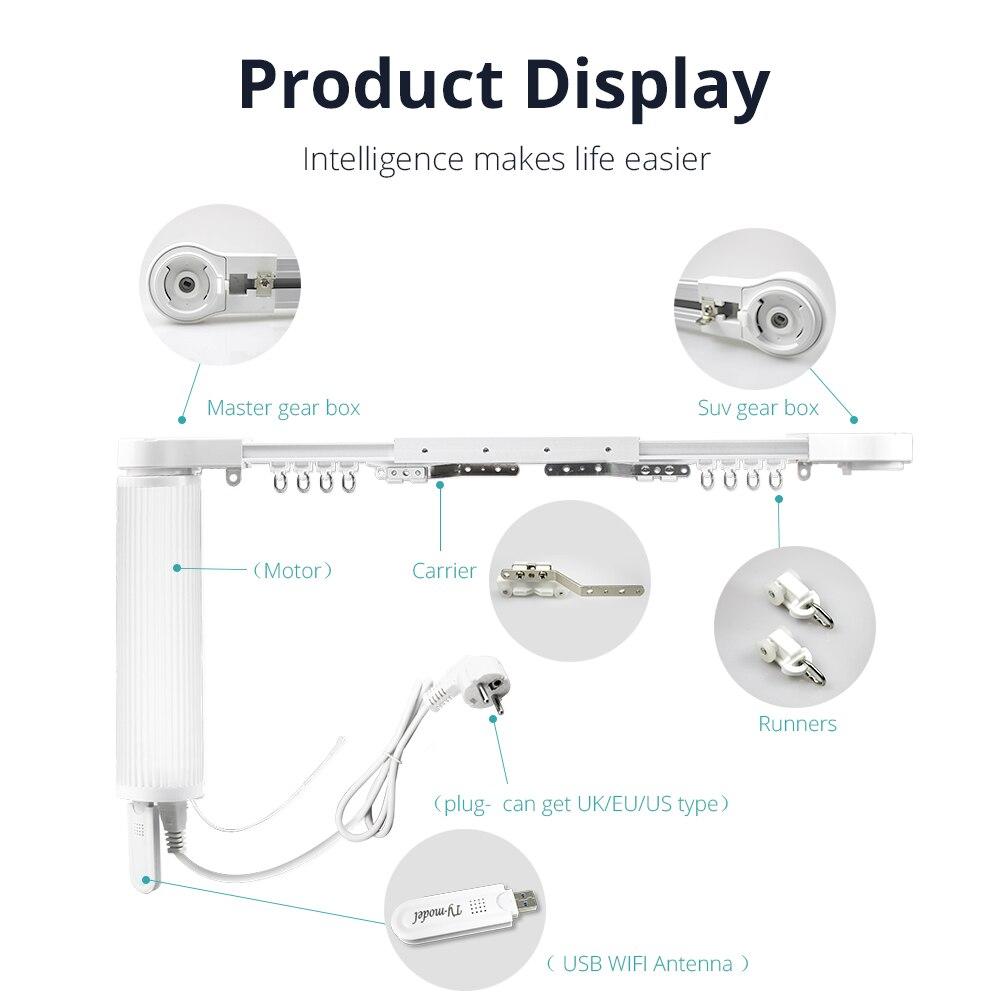 Zemismart WiFi Smart Curtain Motor With Track Alexa Echo Google Home Control via tuya Electric Curtains Rod Broadlink RF433