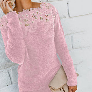 Lace Sweaters Knitted Pullover Long-Sleeve Autumn Winter Femme Women's Black Lady