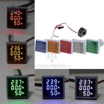 22mm voltímetro digital LED amperímetro Hertz medidor AC 60-500V 0-100A 20-75Hz voltaje de corriente de frecuencia indicador con bobina
