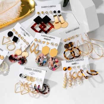 Hot Statement Korean Acrylic Earrings Set Summer Geometric Pearl Tassel Acetate Earrings for Women 2020 Fashion Vintage Jewelry sansummer 2019 new hot fashion maple leaf pendant asymmetric tassel vintage style acrylic elegant earrings for women jewelry
