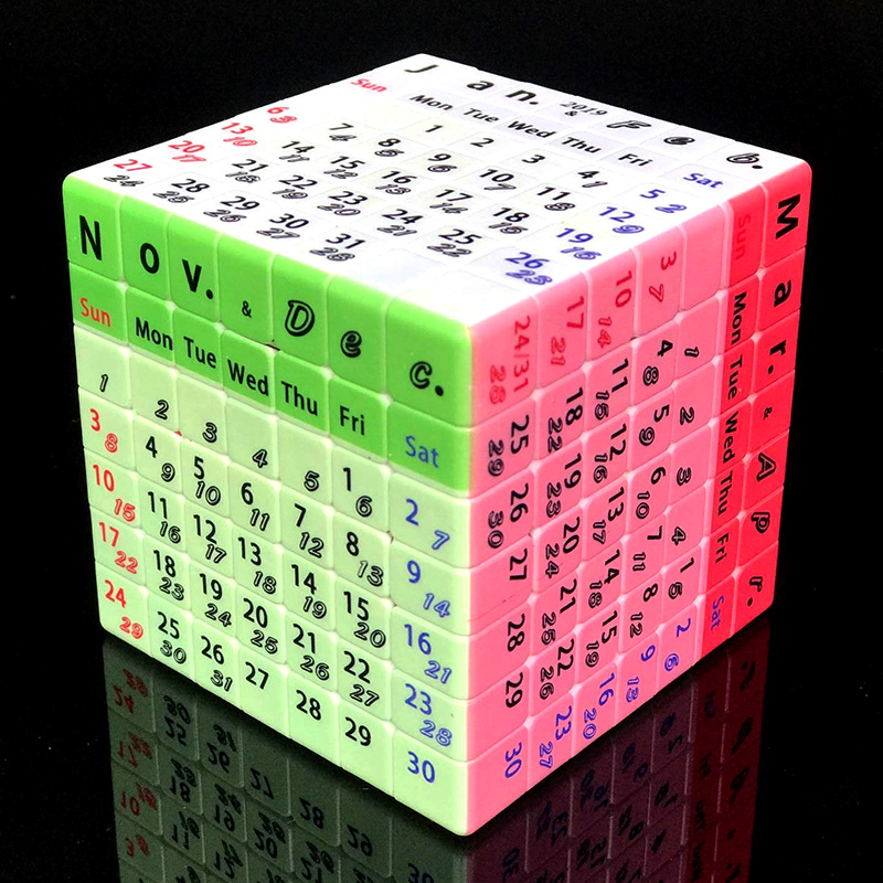 7x7x7 Speed Twist Perpetual Calendar Magic Cube Early Childhood Education Intellectual Development Brain Game Toy image