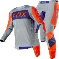 Free shipping 2020 NAUGHTY FOX MX/ATV Racing 360 Linc Jersey & Pant Combo Grey/Orange MX ATV Motocross Gear Set