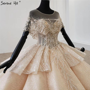 Image 4 - Serene Hill Luxury Dubai Champagne Short Sleeves Wedding Dresses 2020 Sequins Beading High end Bridal Gowns DHX0072 Custom Made