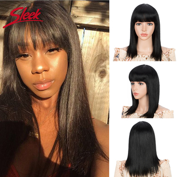 Sleek Human Hair Wigs Straight Bob Brazilan Hair Wigs With Bang 16 Inch Brown Short Straight Hair Cute Bob Cut Wig For Women short capless side bang straight human hair wig