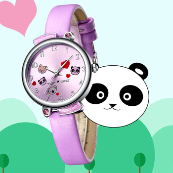 Kids Watch KDM 2019 Fashion Casual Student Girl Boy Watch Cute Cartoon Panda Waterproof Genuine Leather Watch For Kids Children 2