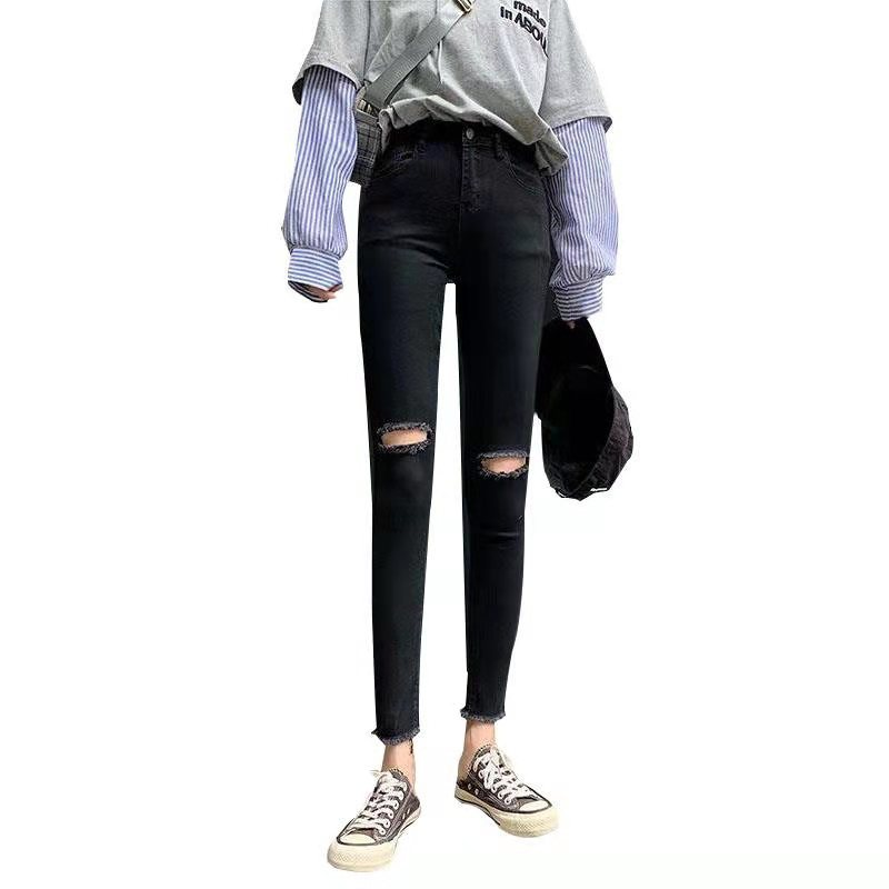 NORMOV Summer Hole Ripped Jeans Women Cool Denim Mid Waist Skinny Jeans Female Pencil Trousers Black Buttons Pocket Jeans