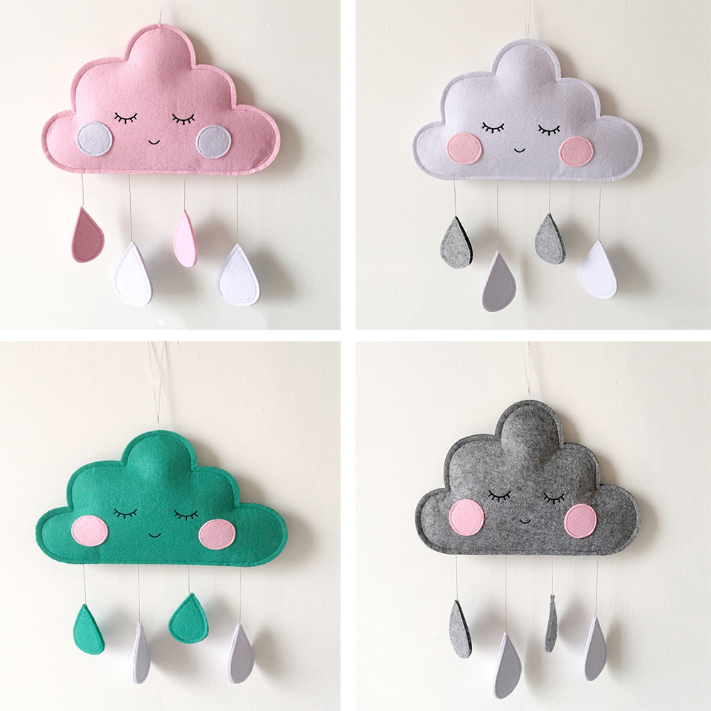 INS Baby Room Decor Clouds Hanging Ornaments Babykamer Decoratie Crib Bed Bell Baby Decoration Room DIY Water Droplets