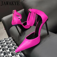 Spring summer sexy shoes women real leather super High Heels Pointed Toe runway sandals ankle strap pumps Dress Party Shoes