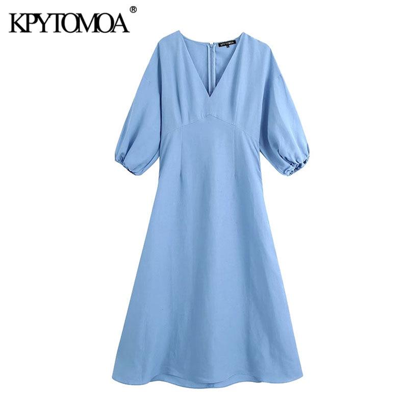 KPYTOMOA Women 2020 Elegant Fashion Puff Sleeve Midi Dress Vintage V Neck Back Zipper Female Dresses Chic Vestidos Mujer