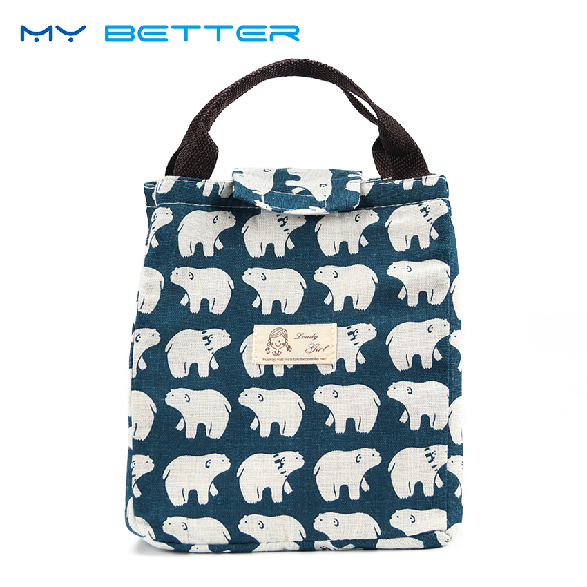 High Capacity Waterproof Lunch Bag Portable Insulated Canvas Lunch Bag Thermal Food Picnic Lunch Bags Cooler Bag For Women Kids