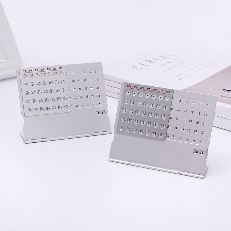 1pc Simple Creative Metal Perpetual Calendar Ultra-thin Desktop Calendar 100 Years Desk Table Calendar Home Office Accessories 1