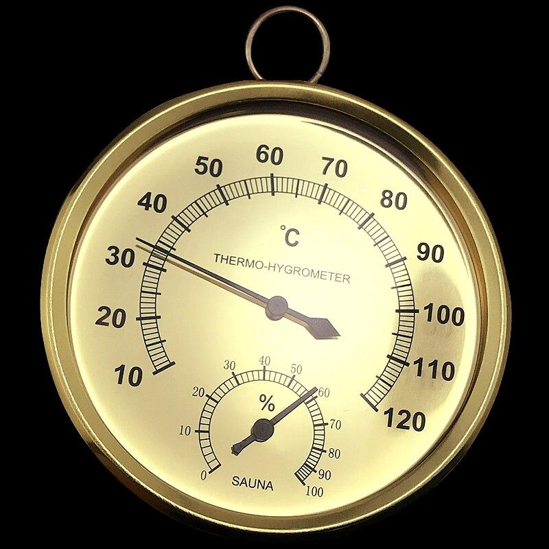 Sauna Termômetro Caixa de Aço Inoxidável Sauna A Vapor Sala de Banho E Sauna Termômetro Higrômetro Interior Ao Ar Livre Usado